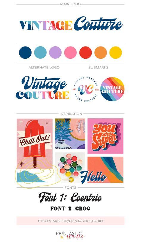Retro Logo Branding Kit, Fashion Boutique Vintage Logo 70s Psychedelic Logo, Bohemian Logo Design Custom Whimsical Boho Logo, Rainbow Logo