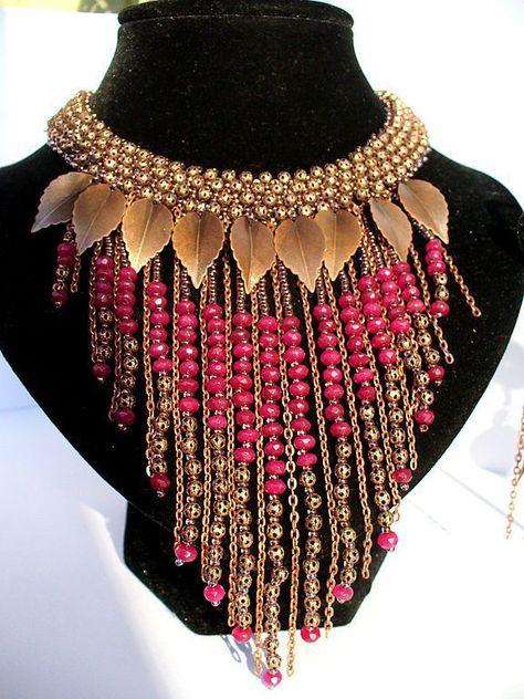 Fringe burgundy beaded necklace Bird of Paradise vinous beadwork jewelry set