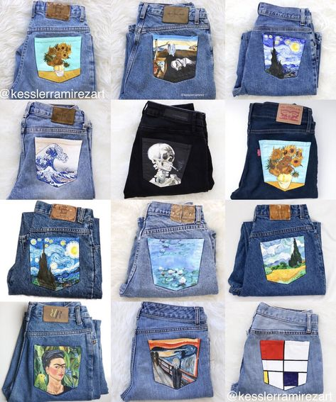 Collection of painted jeans by Kessler Ramirez Painted jean pockets. - Collection of painted jeans by Kessler Ramirez Painted jean pockets with artworks by Vi - Painted Jeans, Painted Clothes, Diy Clothes Paint, Diy Clothes Design, Clothes Crafts, Diy Clothing, Custom Clothes, Diy Fashion, Fashion Outfits