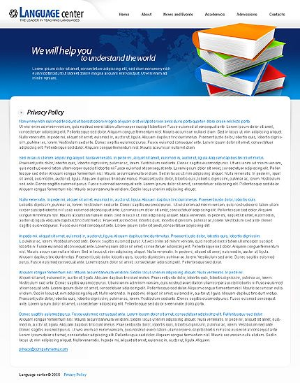Language Education Website Templates by Mercury Language School - privacy policy sample template