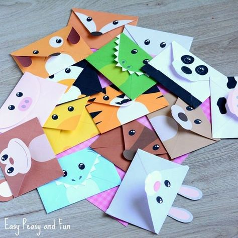 Make writing fun with these printable silly animal envelopes. Why send out a regular letter or a party invitation if you can use these wonderful animal shaped envelopes.  There are 15 different designs in this printable pack and most of them come with accessories (hove, paws, ears and horns) to make