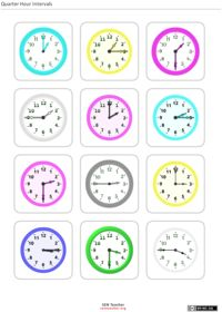 Telling Time Clock Flash Cards - can customize style, size, font ...