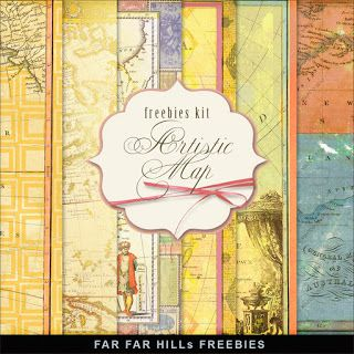 Far Far Hill - Free database of digital illustrations and papers: New Freebies Kit - Artistic Map
