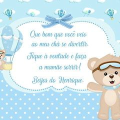 Convite Digital Urso Baloeiro no Elo7 | Ateliê Bimbina Festas (BCBBE3)