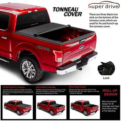 Blk Soft Vinyl Roll-Up Tonneau Cover Assembly Fit 99-16 Ford Super Duty 6.5/' Bed