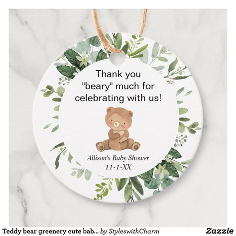 Teddy bear greenery cute baby shower thank you favor tags #favortag #gifttags #genderneutral #babyshower #babyshowerthankyou #thankyou #ad