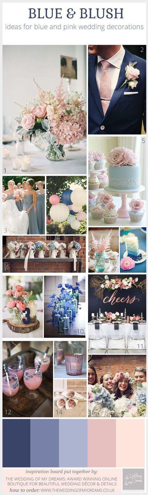 Blue And Blush Pink Wedding Decorations, 2016 wedding colors, blush wedding ideas. #countryweddings