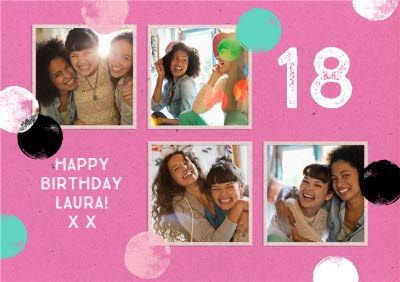 Pink Personalised 4 Photo Upload Happy 18th Birthday Card In 2021 18th Birthday Cards 21st Birthday Cards Birthday Cards