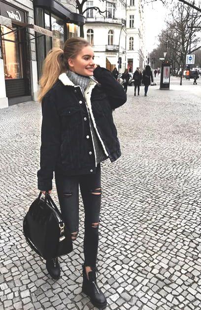 Black Denim Jacket Winter Fashion Outfits Cute Fall Outfits Fashion Inspo Outfits