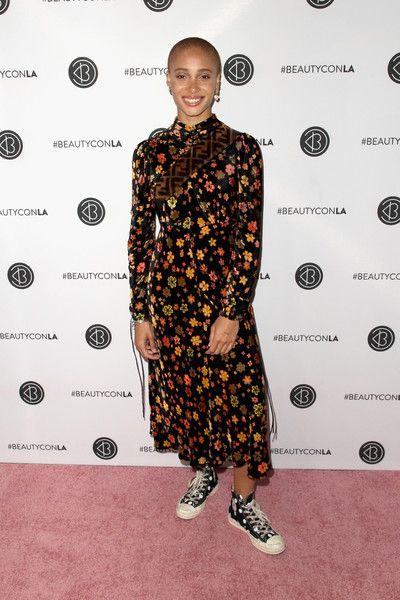 Adwoa Aboah attends the Beautycon Festival LA 2018 at the Los Angeles Convention Center.