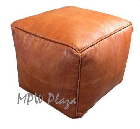"""◆ Crafted exclusively by MPW Plaza®◆ Ships from the USA◆ Premium Moroccan Leather Pouf ◆ Size: 18"""" W x 15"""" H ◆ Sold already Stuffed No Stuffing Square Pouf, Square Ottoman, Moroccan Leather Pouf, Moroccan Pouf, Round Leather Ottoman, Round Ottoman, Homemade Ottoman, Ottoman Furniture, Ottoman Decor"""