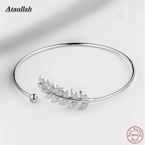 Ataullah Flower Leaves 925 Sterling Silver Bracelets for Women  Rose Gold Color Bangles Sterling Silver Fine Jewelry SBG006