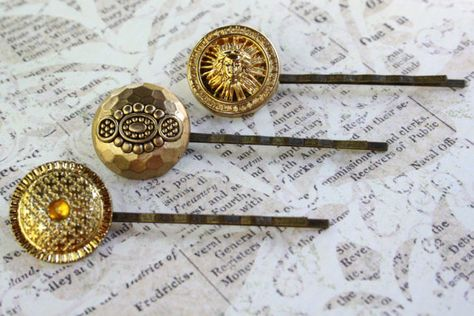 Cute vintage button bobby pins