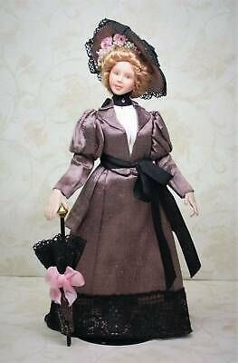 1 12 Scale Miniature Porcelain Edwardian Lady Doll House Doll Ebay Lady Doll Doll Clothes Walking Outfits