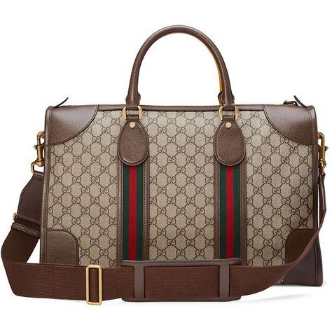 29d570198c8f Gucci Soft GG Supreme Duffel Bag with Web ($1,980) ❤ liked on Polyvore  featuring men's fashion, men's bags, bags, gucci mens bag, mens leather  duffle ...