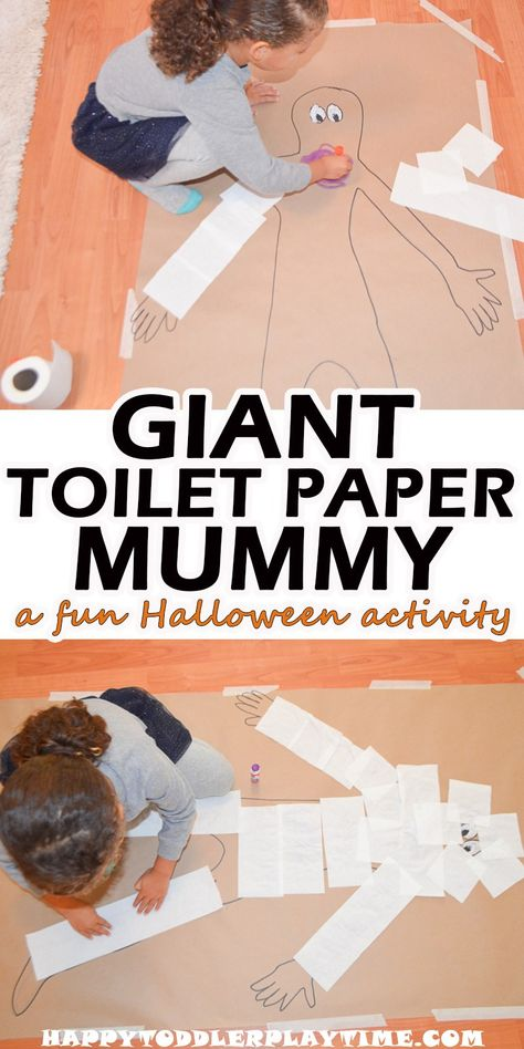 Giant Toilet Paper Mummy Giant Toilet Paper Mummy - HAPPY TODDLER PLAYTIME Create a life size mummy using toilet paper! Your toddler will love this fun and easy to set up Halloween activity! Halloween Activities For Kids, Indoor Activities For Kids, Toddler Activities, Fun Activities, Autumn Activities For Babies, Toddler Games, Holiday Activities, Toddler Toys, Outdoor Activities