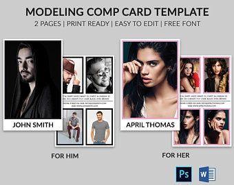 Modeling Comp Card Model Agency Zed Card Photoshop Etsy Model Comp Card Card Model Model Agency