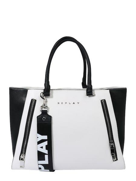REPLAY Shopper schwarz weiß #tasche #damentasche #bags