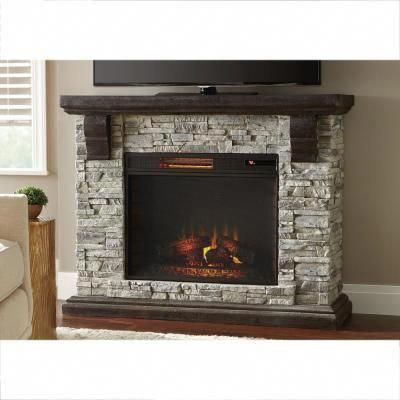 Faux Stone Mantel Electric Fireplace, Small Faux Stone Electric Fireplace