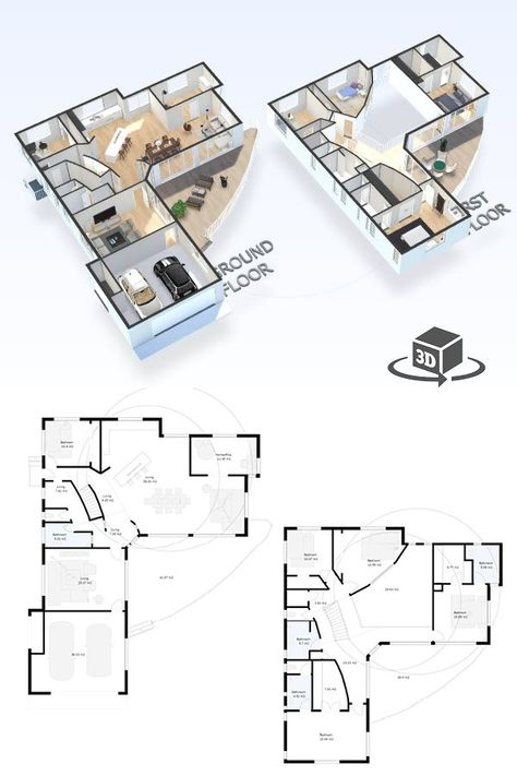 5 Bedroom House Floor Plan In Interactive 3d Get Your Own 3d Model Today At Ht Small House Floor Plans Luxury House Floor Plans L Shaped House Plans