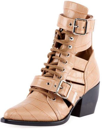 2748c39df Chloé Python-Embossed Leather Combat Boots