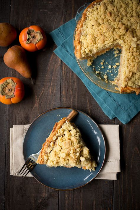 PERSIMMON, PEAR, AND BRANDY PIE—A coffee cake–style vanilla-bean crumble gives this dessert an earthy note that pairs nicely with the sweetness of the persimmon and pear.
