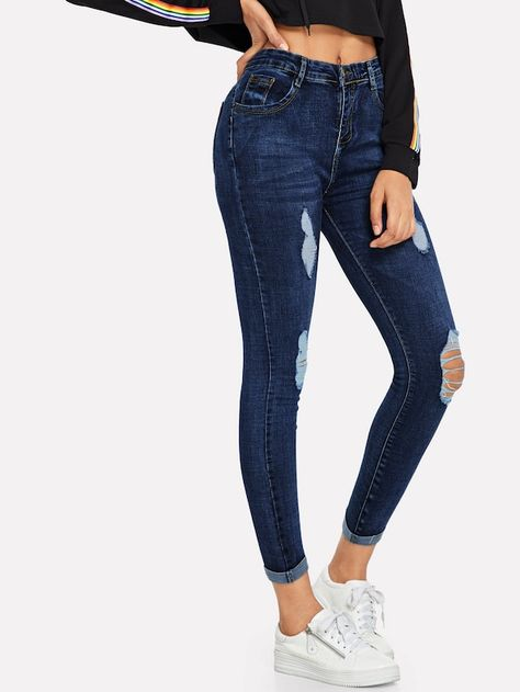 Jeans Dechire A Bas Releve French Shein Sheinside Jeans Skinny