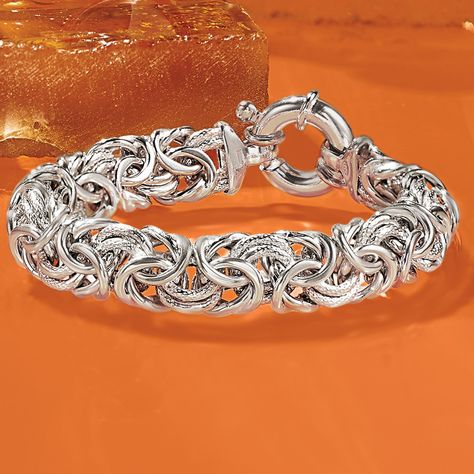 Ross Simons Italian Sterling Silver Textured And Polished Byzantine Bracelet Affiliate Bracelets