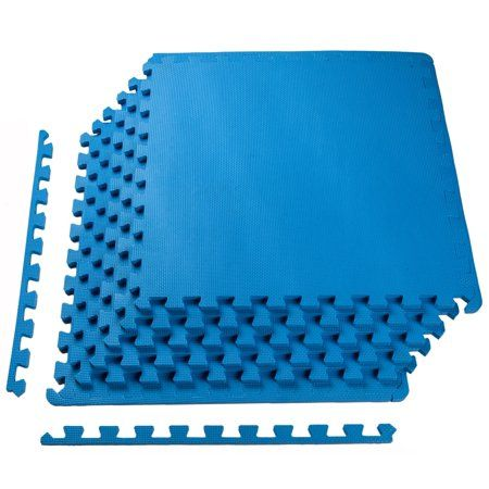 Sporwmt 1 2 Thick Flooring Puzzle Exercise Mat With High Quality Eva Foam Interlocking Tiles 6 Piece 24 Sq Ft Blue