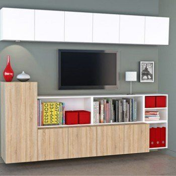 Meuble Tv Spaceo Home Effet Chene Leroy Merlin Avec Images