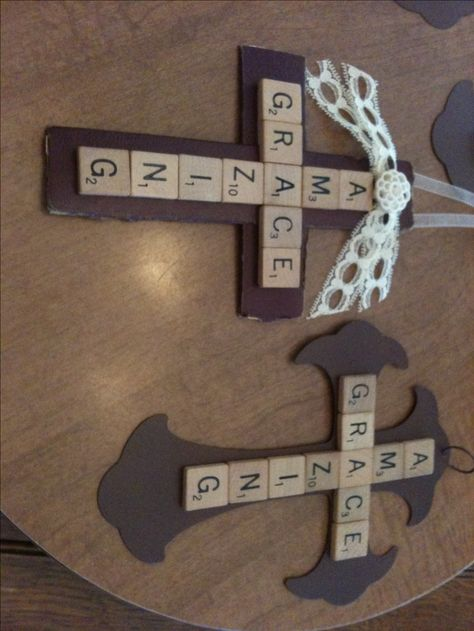This would be a great project to do for Easter. (Maybe even Sunday School and church) Would love to hang year round though. Amazing Grace with scrabble pieces for a DIY cross.