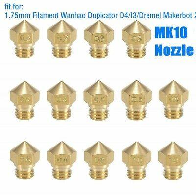 M6 thread 0.2mm-1.0MM MK8 Extruder Brass Nozzle Print Head for 3D Printer 1.75mm