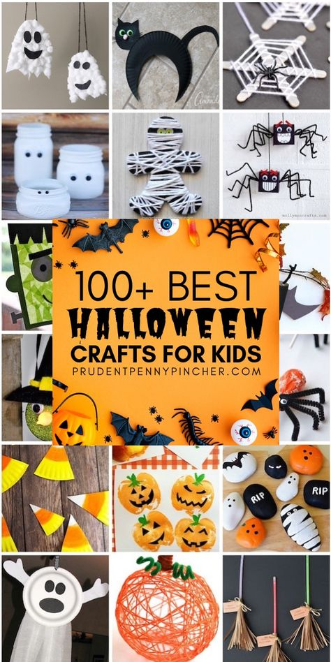 100 Best Halloween Crafts for Kids These Halloween crafts will provide hours of spooktacular fun for your kids. From wicked witches and ghoulish ghosts, there are plenty of craft ideas here. Halloween Tags, Halloween Arts And Crafts, Halloween Decorations For Kids, Halloween Activities For Kids, Fall Crafts For Kids, Crafts For Teens, Toddler Crafts, Holiday Crafts, Kids Crafts