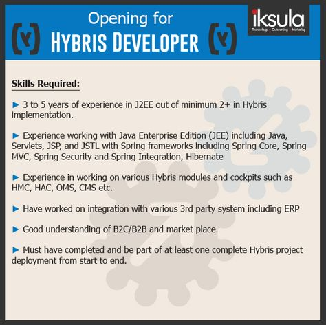 Love Hybris? Live Hybris? Iksula needs Hybris Developers Send in - j2ee jsp resume