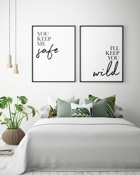Bedroom Printables: You Keep Me Safe I'll Keep You Wild (Set of 2), Couple Bedroom Print, Bedroom Wall Art, Bedroom Decor *Instant Download*