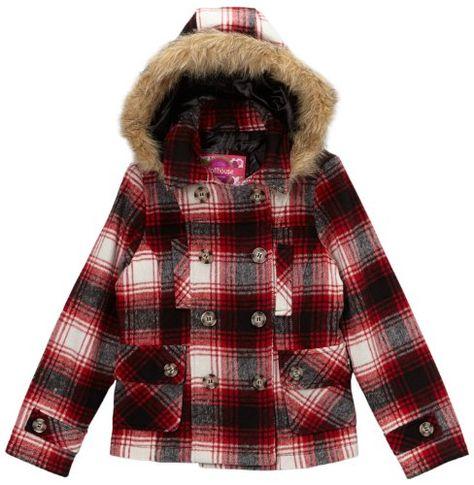Amur Leopard Widgeon Big Girls Button Front Faux Fur Coat Size 3