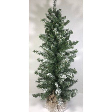 Direct Export 24 Flocked Vienna Tree With Burlap Weighted Base Walmart Com Artificial Christmas Tree The Holiday Aisle Metal Tree