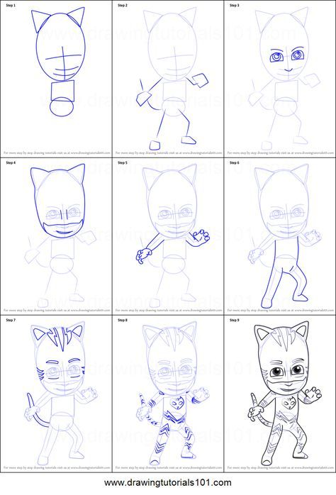 How To Draw Catboy From Pj Masks Printable Step By Step Drawing