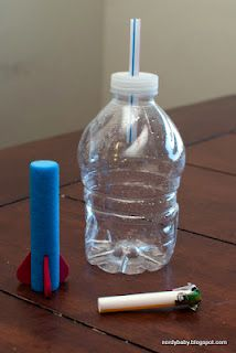 Simple homemade squeezable rocket launcher - for younger