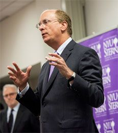 "Forecast Possible – On May 7, BlackRock Chairman & CEO Laurence D. Fink shared his thoughts on ""Longevity in the Age of Twitter"" with MBA students at NYU Stern."