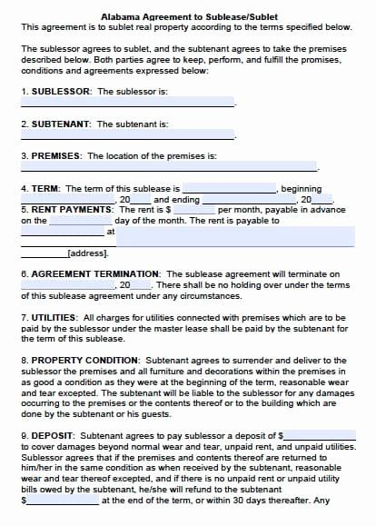Subletting Lease Agreement Template Lovely Free Alabama Sublease Agreement Pdf Template Flow Chart Template Contract Template Weekly Lesson Plan Template