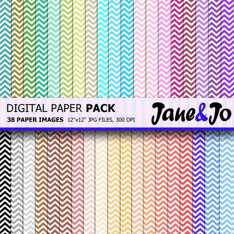 """""""50% OFF SALE Chevron Digital Paper, 38 Sheets , Chevron background , Rainbow chevron pattern , Digital Scrapbooking Paper Instant Download * * * * * * * * * * * * * * * * * * * * * * BUY 2, GET 1 FREE! Purchase any 2 items and get a 3rd item of equal or lesser value free! Add all three items to your cart and use coupon code BUYME to redeem your offer. Please make sure that the discount has been applied before you proceed with your payment. Add three items to your cart and don't miss our coupon"""