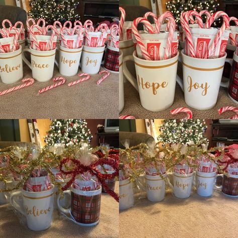 Christmas Party Gift Ideas.Crafty Gifting Hot Chocolate Mugs Candy Cane Hearts