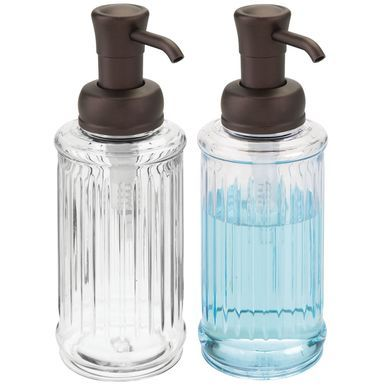 Fluted Plastic Refillable Liquid Soap Dispenser Pumps Pack Of 2
