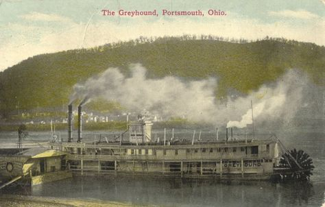 "In the early 1800's, steamboats were built in Portsmouth. The first steamboat built in Scioto County was called the ""Herald"", later changed to the ""Ohio"".  As a port along the Ohio River, many steamboats that traveled the Ohio, made stops at Portsmouth.   The produce that came down the canal was transferred to the steamboats for delivery to cities along the river. This made Portsmouth a prosperous river town."