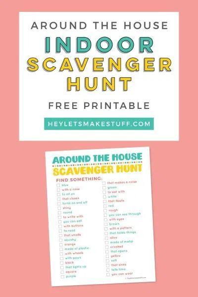 Printable Around The House Indoor Scavenger Hunt Scavenger Hunt For Kids Scavenger Hunt Fun Indoor Activities