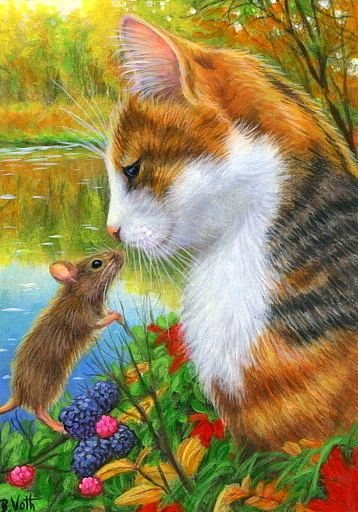 ACEO original cat mouse wildlife lake autumn fall landscape painting art | eBay