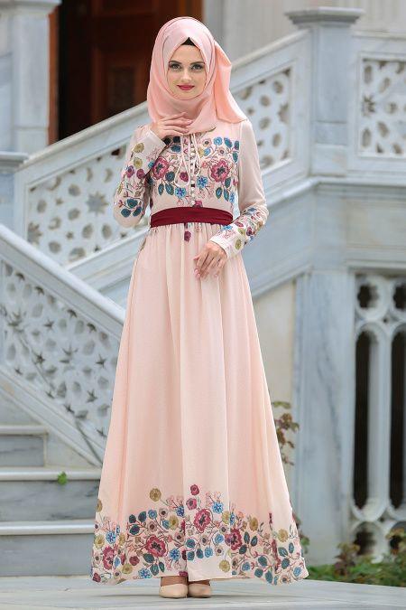 Neva Style Cicek Desenli Somon Tesettur Elbise 7719smn Tesetturisland Com Islami Moda Musluman Modasi Elbise
