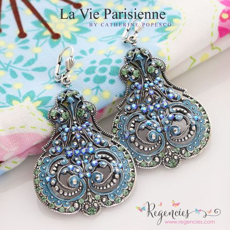 bd1336727 La Vie Parisienne by Catherine Popesco Swarovski Enamel Contessa Scroll  Large Statement Earrings. Available at regencies.com