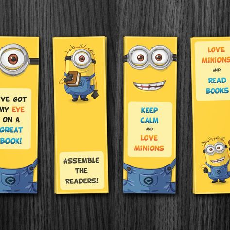 Minion printable bookmark , despicable me bookmark, kids bookmarks. Simply print on cardstock and cut out.